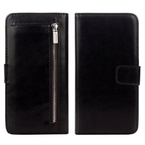 For iPhone 7 Black Separable Crazy Horse Zipper Wallet Flip Leather Case