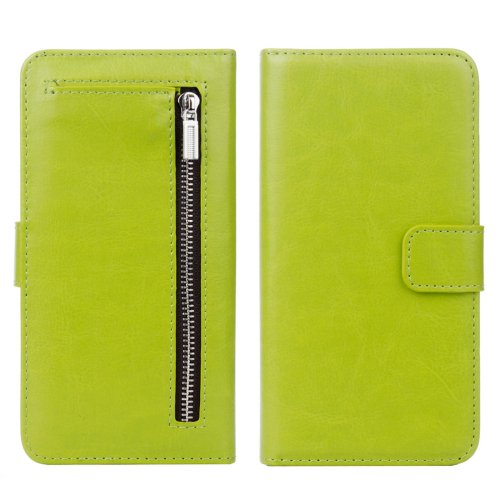 For iPhone 7 Green Separable Crazy Horse Zipper Wallet Flip Leather Case