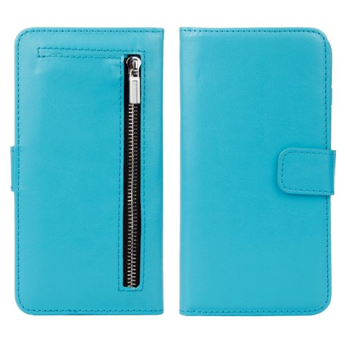 For iPhone 7 Blue Separable Crazy Horse Zipper Wallet Flip Leather Case