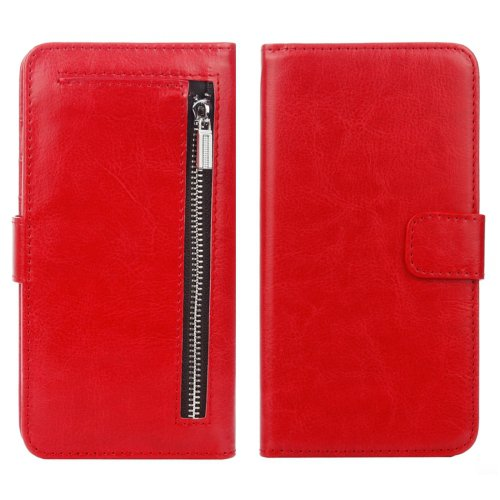 For iPhone 7 Red Separable Crazy Horse Zipper Wallet Flip Leather Case