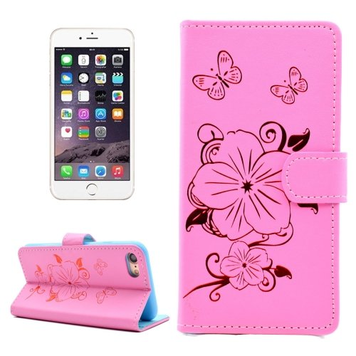 For iPhone 7 Butterfly Pink PU Leather Case with Holder, Card Slots & Wallet