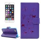 For iPhone 7 Butterfly Purple PU Leather Case with Holder, Card Slots & Wallet