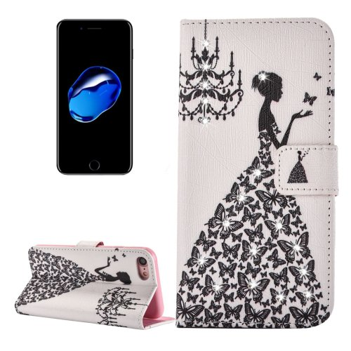 For iPhone 7 Butterfly Diamond Leather Case with Card Slots & Wallet