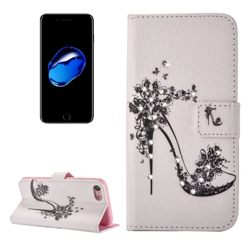 For iPhone 7 High-heel Diamond Leather Case with Card Slots & Wallet