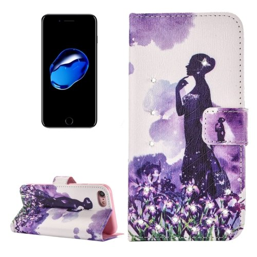 For iPhone 7 Flowers Diamond Leather Case with Card Slots & Wallet