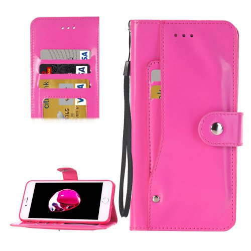 For iPhone 7 Magenta TPU + PU Leather Case with Holder, Card Slots & Wallet
