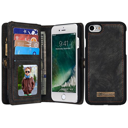 For iPhone 7 Black Leather Billfold with Detachable Magnetic PC Back Case