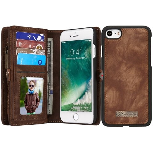 For iPhone 7 Coffee Leather Billfold with Detachable Magnetic PC Back Case