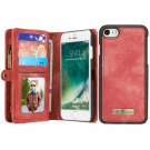 For iPhone 7 Red Leather Billfold with Detachable Magnetic PC Back Case