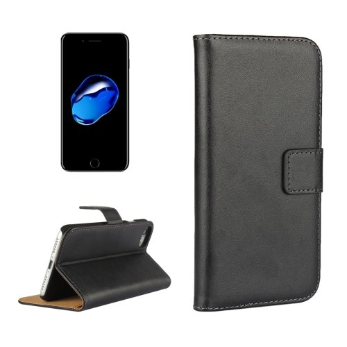 For iPhone 7 Black Geniune Leather Case with Holder & Card Slots & Wallet