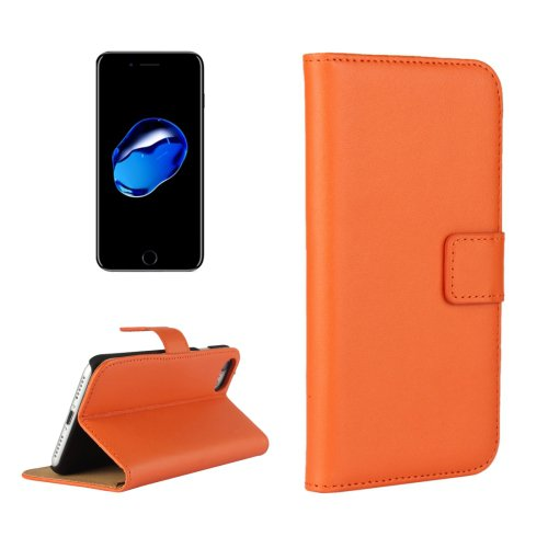 For iPhone 7 Orange Geniune Leather Case with Holder & Card Slots & Wallet