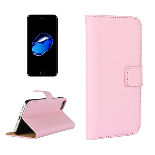 For iPhone 7 Pink Geniune Leather Case with Holder & Card Slots & Wallet