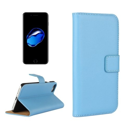 For iPhone 7 Blue Geniune Leather Case with Holder & Card Slots & Wallet