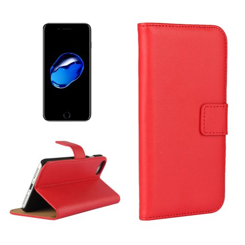 For iPhone 7 Red Geniune Leather Case with Holder & Card Slots & Wallet