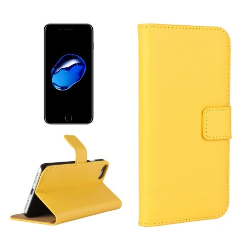 For iPhone 7 Yellow Geniune Leather Case with Holder & Card Slots & Wallet