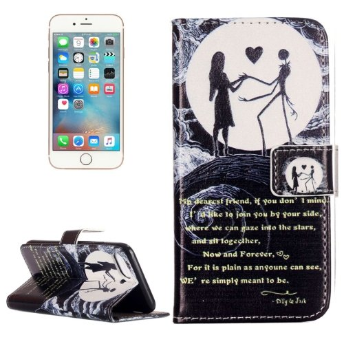 For iPhone 7 Moon Couple Leather Case with Holder & Card Slots & Wallet