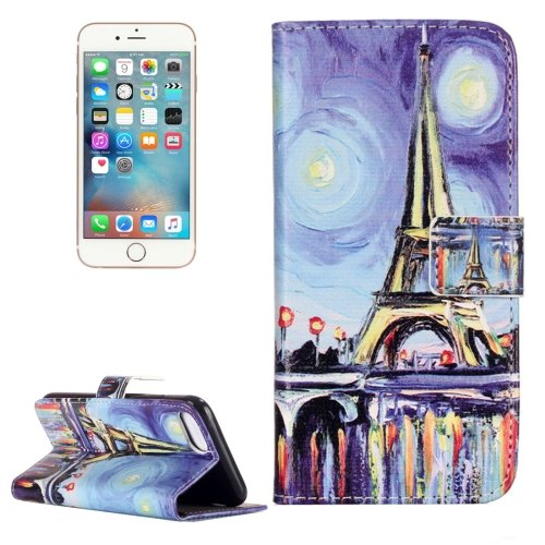 For iPhone 7 Oil Painting Leather Case with Holder & Card Slots & Wallet
