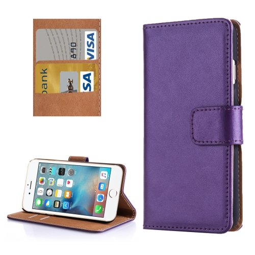 For iPhone 7 Purple Flip Genuine Leather Case with Holder, Card Slots & Wallet