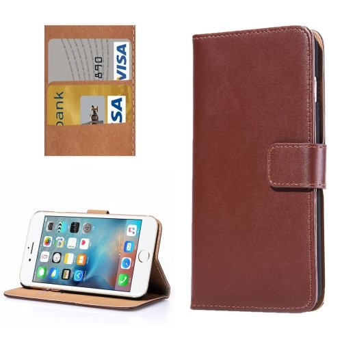 For iPhone 7 Brown Flip Genuine Leather Case with Holder, Card Slots & Wallet