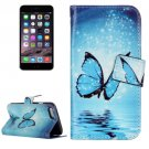 For iPhone 7 Blue Butterfly Leather Case with Holder, Card Slots & Wallet