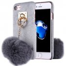 For iPhone 7 Grey Plush Cloth Cover PC Case with Furry Ball Chain Pendant