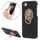 For iPhone 7 Snakeskin Paste Skin Black PC Case with Lion Head Holder