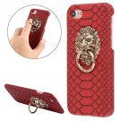For iPhone 7 Snakeskin Paste Skin Red PC Case with Lion Head Holder