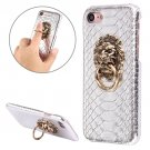 For iPhone 7 Snakeskin Paste Skin Silver PC Case with Lion Head Holder
