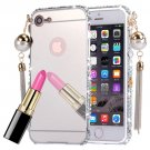 For iPhone 7 Pearl Chain Pendant Diamond Silver Electroplating Mirror PC Case