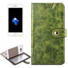 For iPhone 7 Plus Green Leather Case with Mirror & Holder & Card Slots