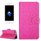For iPhone 7 Plus Magenta Raindrops Leather Case with Holder & Card Slots