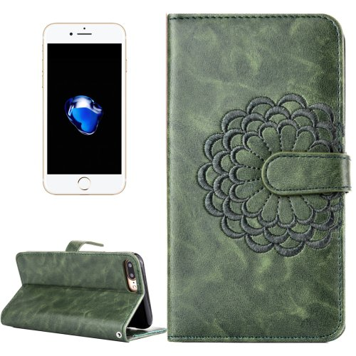 For iPhone 7 Plus Green Flower Leather Case with Holder, Card Slots & Wallet