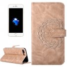 For iPhone 7 Plus Gold Flower Leather Case with Holder, Card Slots & Wallet