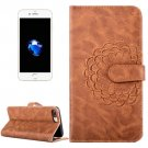 For iPhone 7 Plus Brown Flower Leather Case with Holder, Card Slots & Wallet