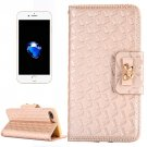 For iPhone 7 Plus Gold Bowknot Leather Case with Holder, Card Slots & Wallet