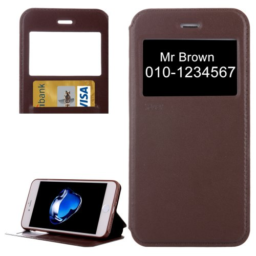 For iPhone 7 Plus Coffee Crazy Horse Case with Call ID, Holder & Card Slot