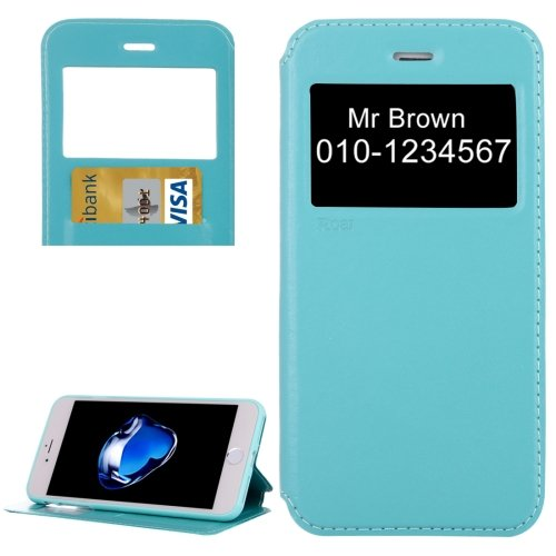 For iPhone 7 Plus Blue Crazy Horse Case with Call ID, Holder & Card Slot