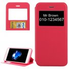 For iPhone 7 Plus Magenta Crazy Horse Case with Call ID, Holder & Card Slot