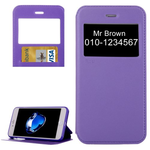 For iPhone 7 Plus Purple Crazy Horse Case with Call ID, Holder & Card Slot