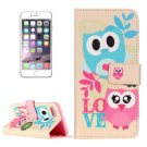 For iPhone 7 Plus Owl Couple Leather Case with Card Slots, Wallet & Holder