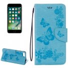 For iPhone 7 Plus Blue Butterflies Leather Case with Holder, Card Slots & Wallet