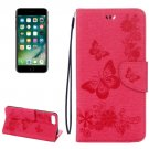 For iPhone 7 Plus Magenta Butterflies Leather Case with Holder, Card Slots & Wallet