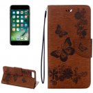 For iPhone 7 Plus Brown Butterflies Leather Case with Holder, Card Slots & Wallet