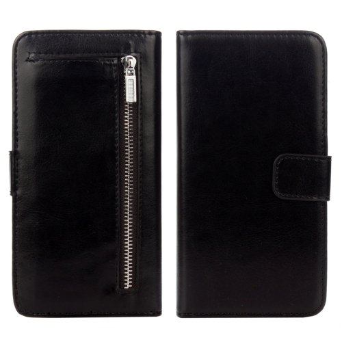 For iPhone 7 Plus Separable Crazy Horse Zipper Wallet Style Black Leather Case