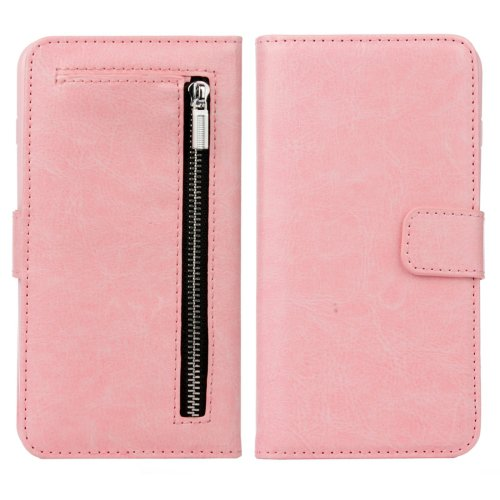 For iPhone 7 Plus Separable Crazy Horse Zipper Wallet Style Pink Leather Case