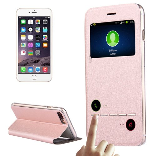 For iPhone 7 Plus Pink Flip Leather Case with Call Display ID & Holder