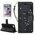 For iPhone 7 Plus Black Girl Leather Case with Holder & Card Slots & Wallet