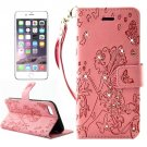 For iPhone 7 Plus Pink Girl Leather Case with Holder & Card Slots & Wallet