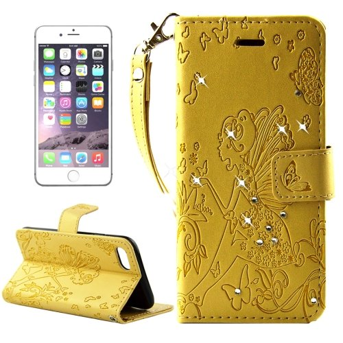 For iPhone 7 Plus Gold Girl Leather Case with Holder & Card Slots & Wallet