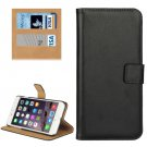 For iPhone 7 Plus Black Geniune Leather Case with Holder, Card Slots & Wallet